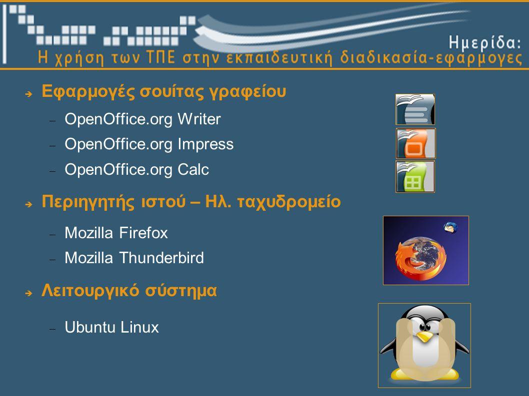  Εφαρμογές σουίτας γραφείου  OpenOffice.org Writer  OpenOffice.org Impress  OpenOffice.org Calc  Περιηγητής ιστού – Ηλ.