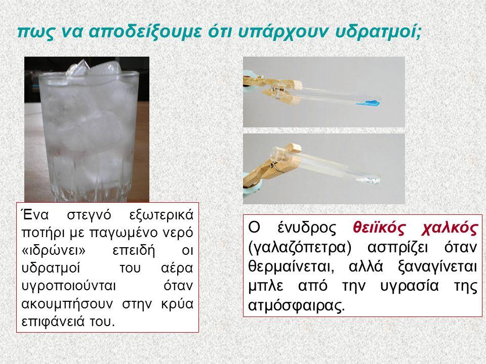 πως να αποδείξουμε ότι υπάρχουν υδρατμοί; Ένα στεγνό εξωτερικά ποτήρι με παγωμένο νερό «ιδρώνει» επειδή οι υδρατμοί του αέρα υγροποιούνται όταν ακουμπήσουν στην κρύα επιφάνειά του.