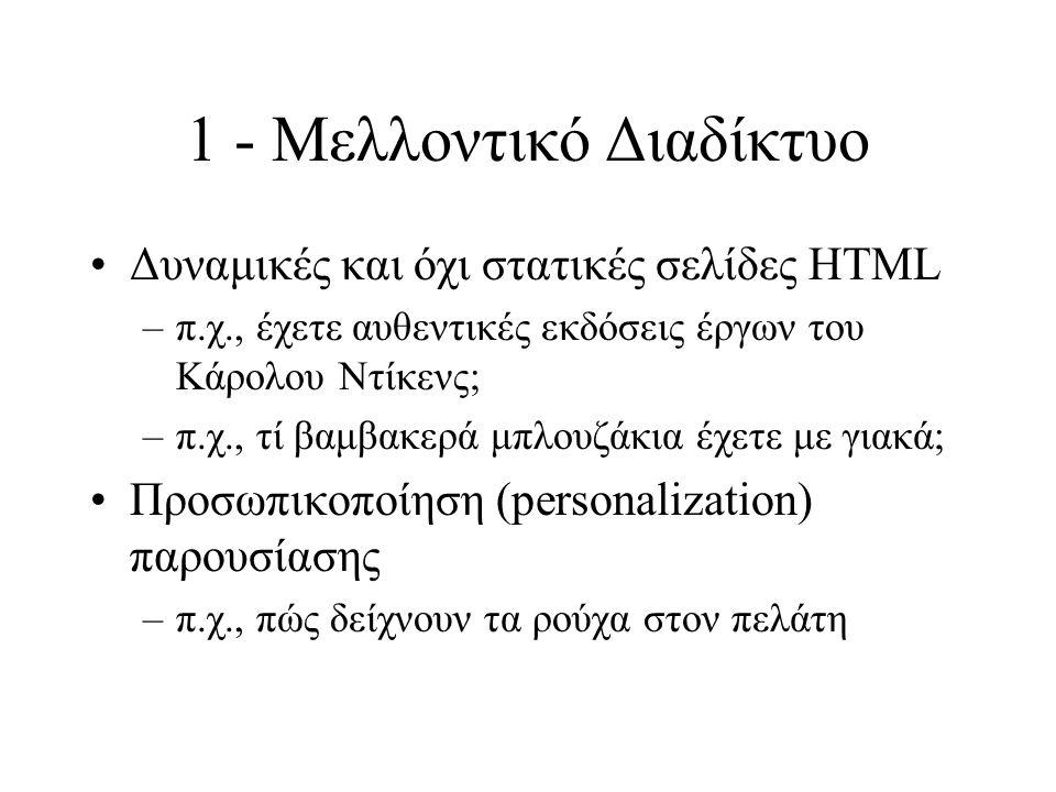 1 - Μελλοντικό Διαδίκτυο Δυναμικές και όχι στατικές σελίδες HTML –π.χ., έχετε αυθεντικές εκδόσεις έργων του Κάρολου Ντίκενς; –π.χ., τί βαμβακερά μπλουζάκια έχετε με γιακά; Προσωπικοποίηση (personalization) παρουσίασης –π.χ., πώς δείχνουν τα ρούχα στον πελάτη
