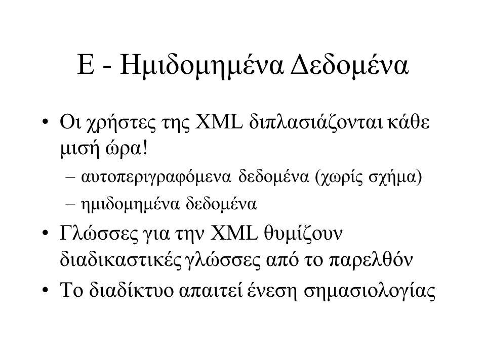 Ε - Ημιδομημένα Δεδομένα Οι χρήστες της XML διπλασιάζονται κάθε μισή ώρα.