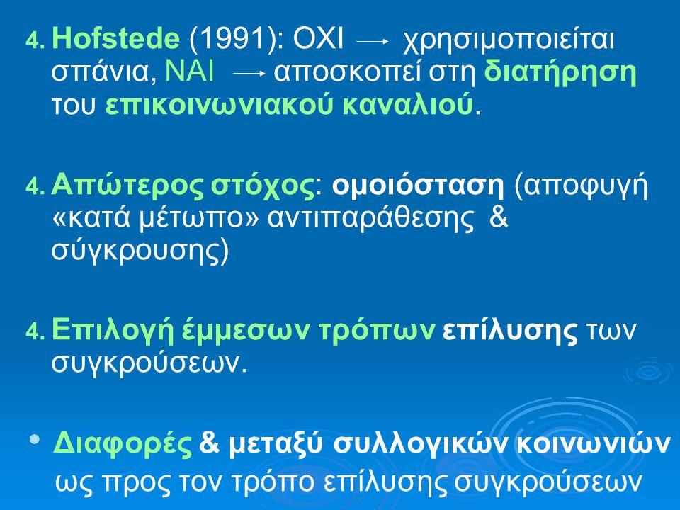 4. Hofstede (1991): ΟΧΙ χρησιμοποιείται σπάνια, ΝΑΙ αποσκοπεί στη διατήρηση του επικοινωνιακού καναλιού. 4. Απώτερος στόχος: ομοιόσταση (αποφυγή «κατά