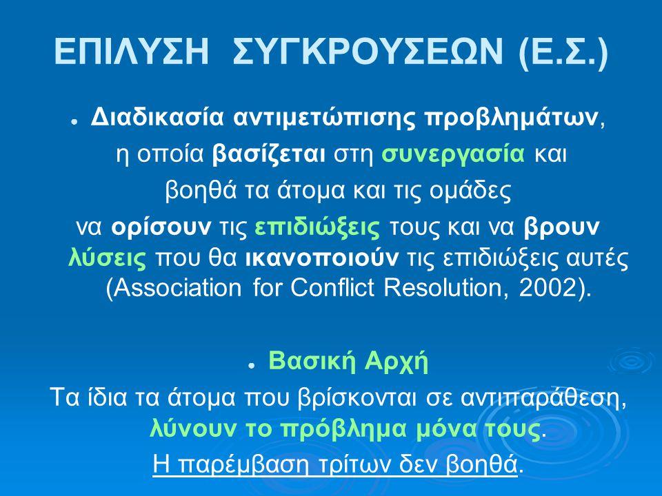 ΒΗΜΑΤΑ ΔΙΑΔΙΚΑΣΙΑΣ ΕΠΙΛΥΣΗΣ ΠΡΟΒΛΗΜΑΤΟΣ 1.Συμφωνία ως προς να τεθούν οι βασικοί κανόνες.