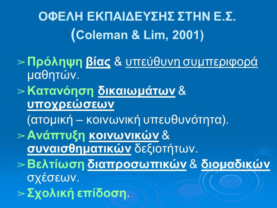 ΟΦΕΛΗ ΕΚΠΑΙΔΕΥΣΗΣ ΣΤΗΝ Ε.Σ. ( Coleman & Lim, 2001) ➢ Πρόληψη βίας & υπεύθυνη συμπεριφορά μαθητών. ➢ Κατανόηση δικαιωμάτων & υποχρεώσεων (ατομική – κοι