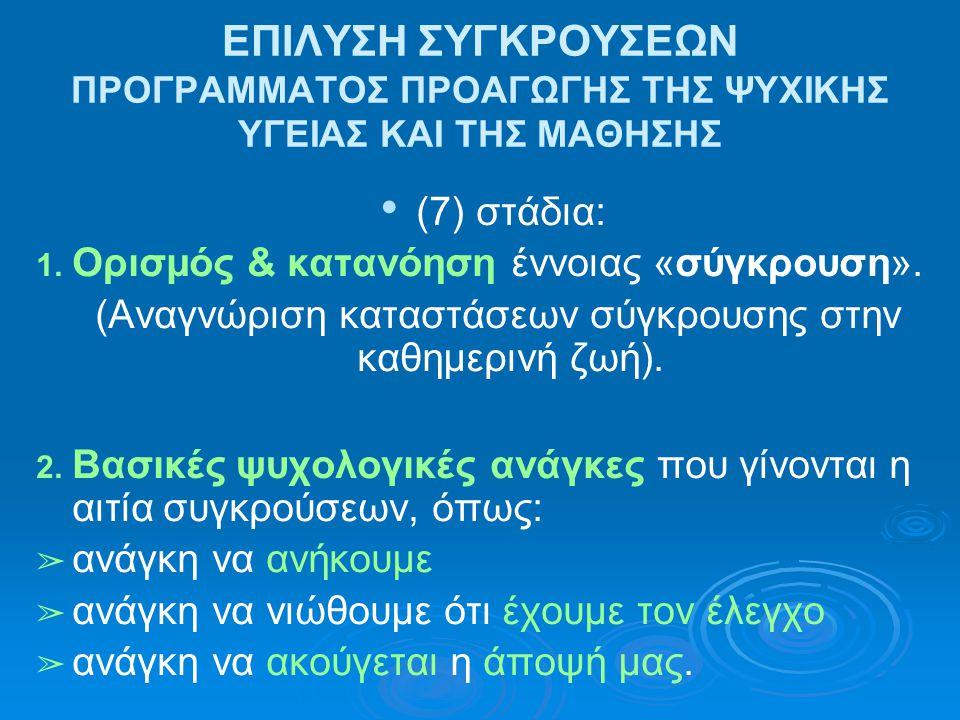 ΕΠΙΛΥΣΗ ΣΥΓΚΡΟΥΣΕΩΝ ΠΡΟΓΡΑΜΜΑΤΟΣ ΠΡΟΑΓΩΓΗΣ ΤΗΣ ΨΥΧΙΚΗΣ ΥΓΕΙΑΣ ΚΑΙ ΤΗΣ ΜΑΘΗΣΗΣ (7) στάδια: 1. Ορισμός & κατανόηση έννοιας «σύγκρουση». (Αναγνώριση κατα