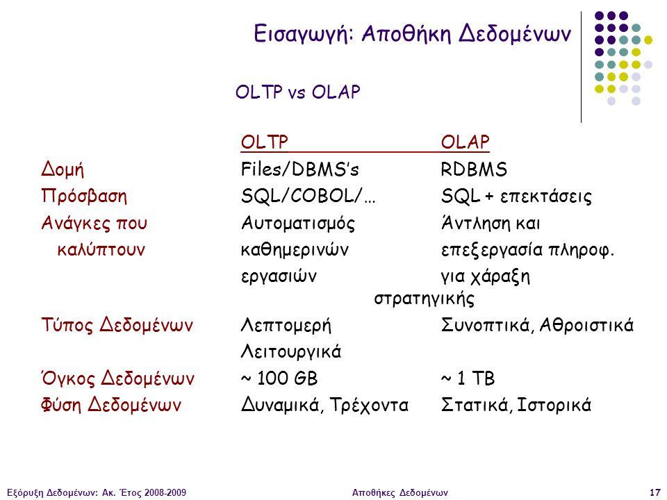 Εξόρυξη Δεδομένων: Ακ. Έτος 2008-2009Αποθήκες Δεδομένων17 OLTPOLAP ΔομήFiles/DBMS'sRDBMS ΠρόσβασηSQL/COBOL/…SQL + επεκτάσεις Ανάγκες που Αυτοματισμός