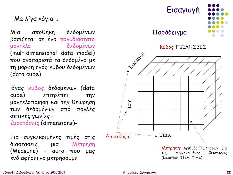 Εξόρυξη Δεδομένων: Ακ. Έτος 2008-2009Αποθήκες Δεδομένων22 Εισαγωγή Μια αποθήκη δεδομένων βασίζεται σε ένα πολυδιάστατο μοντέλο δεδομένων (multidimensi