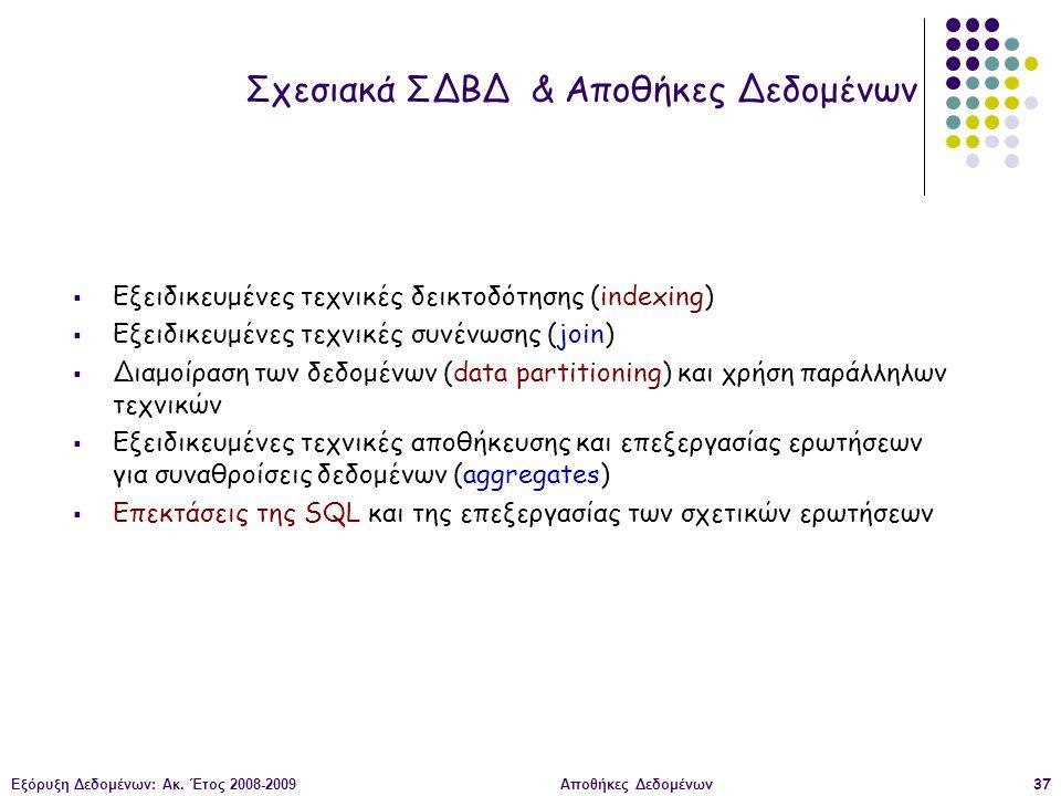 Εξόρυξη Δεδομένων: Ακ. Έτος 2008-2009Αποθήκες Δεδομένων37 Σχεσιακά ΣΔΒΔ & Αποθήκες Δεδομένων  Εξειδικευμένες τεχνικές δεικτοδότησης (indexing)  Εξει