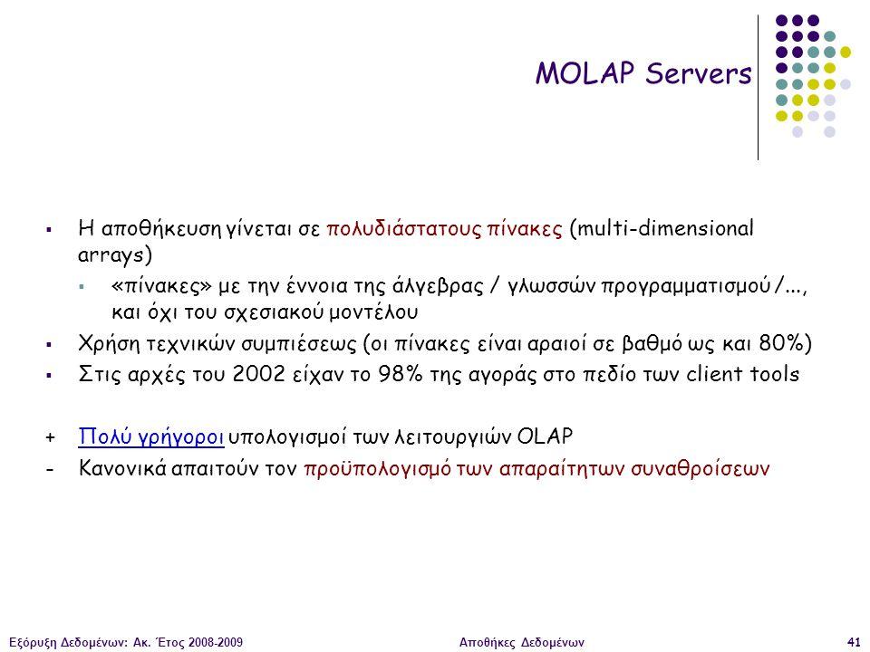 Εξόρυξη Δεδομένων: Ακ. Έτος 2008-2009Αποθήκες Δεδομένων41 MOLAP Servers  Η αποθήκευση γίνεται σε πολυδιάστατους πίνακες (multi-dimensional arrays) 