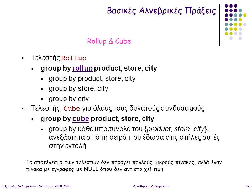 Εξόρυξη Δεδομένων: Ακ. Έτος 2008-2009Αποθήκες Δεδομένων57  Τελεστής Rollup  group by rollup product, store, city  group by product, store, city  g