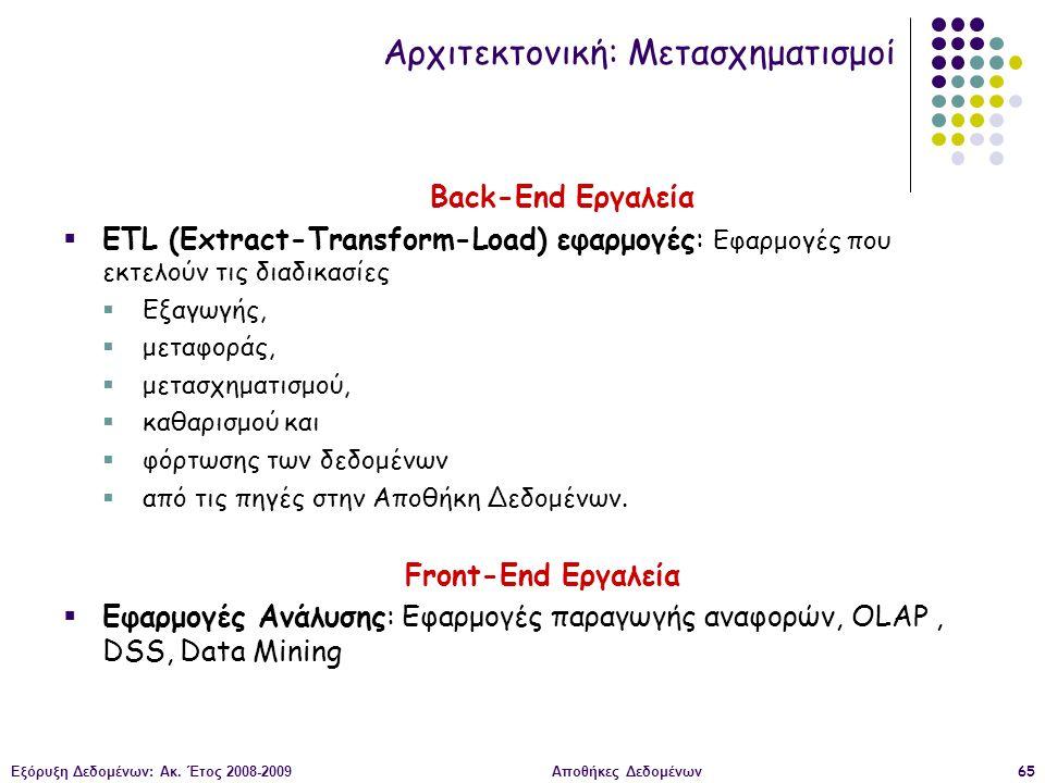 Εξόρυξη Δεδομένων: Ακ. Έτος 2008-2009Αποθήκες Δεδομένων65 Back-End Εργαλεία  ETL (Extract-Transform-Load) εφαρμογές: Εφαρμογές που εκτελούν τις διαδι