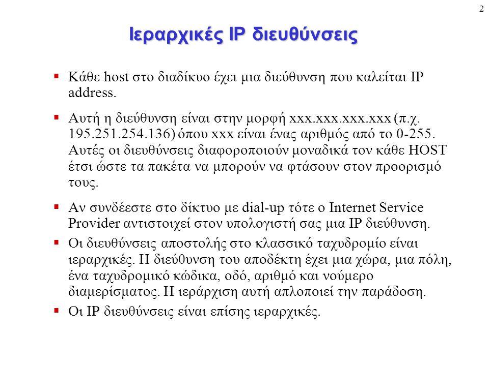 2 Ιεραρχικές ΙΡ διευθύνσεις  Κάθε host στο διαδίκυο έχει μια διεύθυνση που καλείται IP address.
