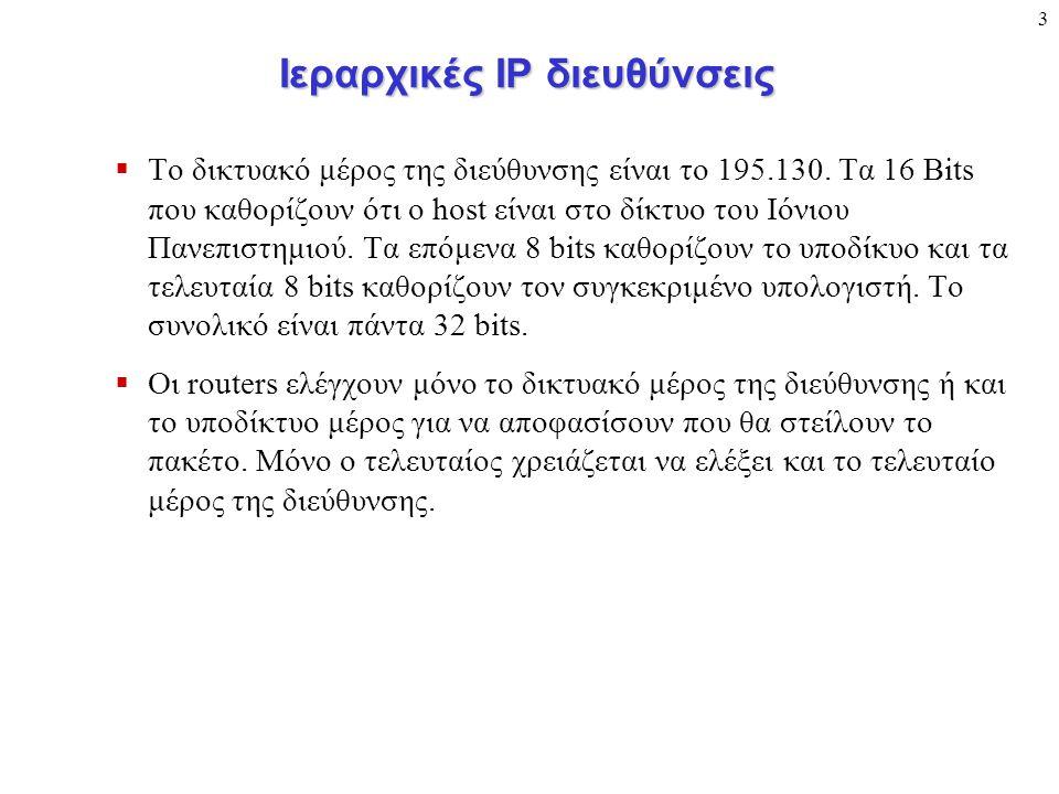 3 Ιεραρχικές ΙΡ διευθύνσεις  Το δικτυακό μέρος της διεύθυνσης είναι το 195.130. Τα 16 Bits που καθορίζουν ότι ο host είναι στο δίκτυο του Ιόνιου Πανε