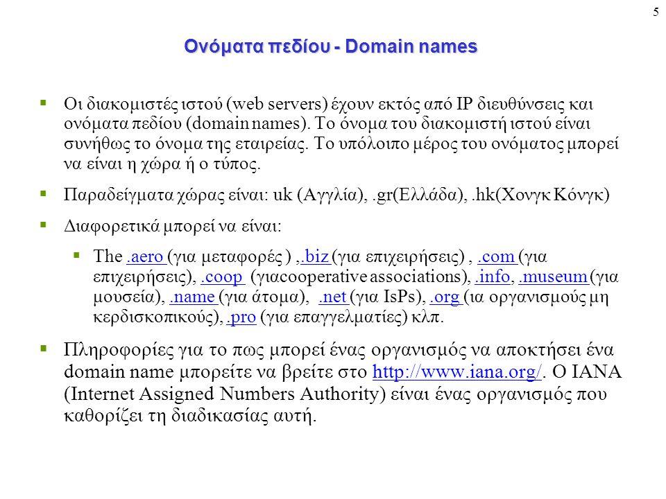 5 Ονόματα πεδίου - Domain names  Οι διακομιστές ιστού (web servers) έχουν εκτός από IP διευθύνσεις και ονόματα πεδίου (domain names). Το όνομα του δι