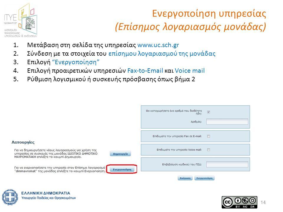 Ενεργοποίηση υπηρεσίας (Επίσημος λογαριασμός μονάδας) 14 1.Μετάβαση στη σελίδα της υπηρεσίας www.uc.sch.gr 2.Σύνδεση με τα στοιχεία του επίσημου λογαριασμού της μονάδας 3.Επιλογή Ενεργοποίηση 4.Επιλογή προαιρετικών υπηρεσιών Fax-to-Email και Voice mail 5.Ρύθμιση λογισμικού ή συσκευής πρόσβασης όπως βήμα 2