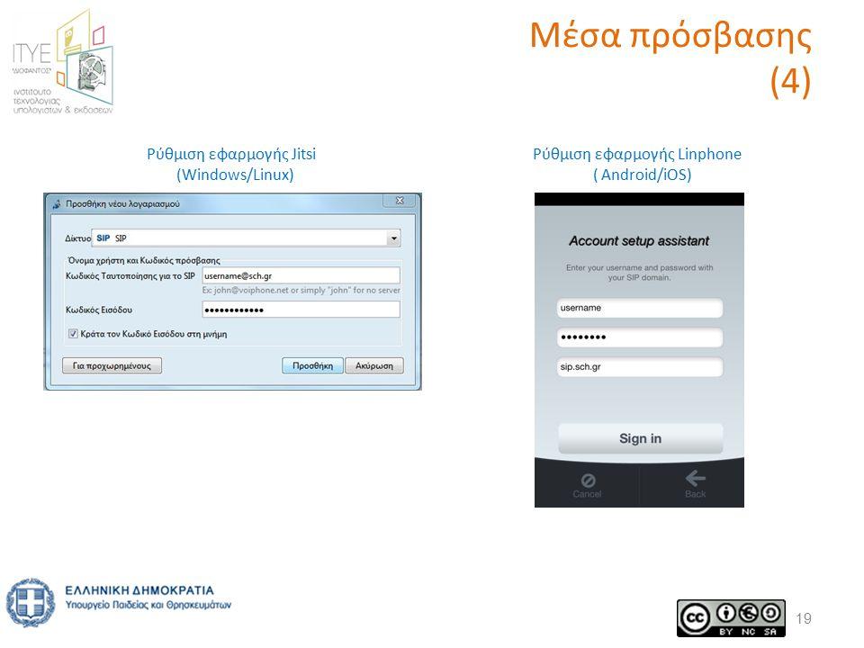 Μέσα πρόσβασης (4) 19 Ρύθμιση εφαρμογής Jitsi (Windows/Linux) Ρύθμιση εφαρμογής Linphone ( Android/iOS)