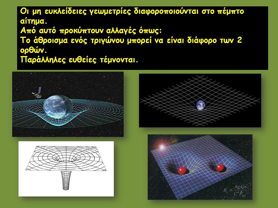 Οι μη ευκλείδειες γεωμετρίες διαφοροποιούνται στο πέμπτο αίτημα. Από αυτό προκύπτουν αλλαγές όπως: Το άθροισμα ενός τριγώνου μπορεί να είναι διάφορο τ