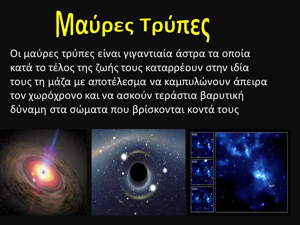 Οι μαύρες τρύπες είναι γιγαντιαία άστρα τα οποία κατά το τέλος της ζωής τους καταρρέουν στην ιδία τους τη μάζα με αποτέλεσμα να καμπυλώνουν άπειρα τον