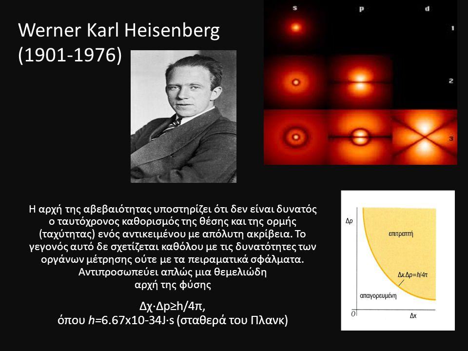 Werner Κarl Heisenberg (1901-1976) Η αρχή της αβεβαιότητας υποστηρίζει ότι δεν είναι δυνατός o ταυτόχρονος καθορισμός της θέσης και της ορμής (ταχύτητας) ενός αντικειμένου με απόλυτη ακρίβεια.