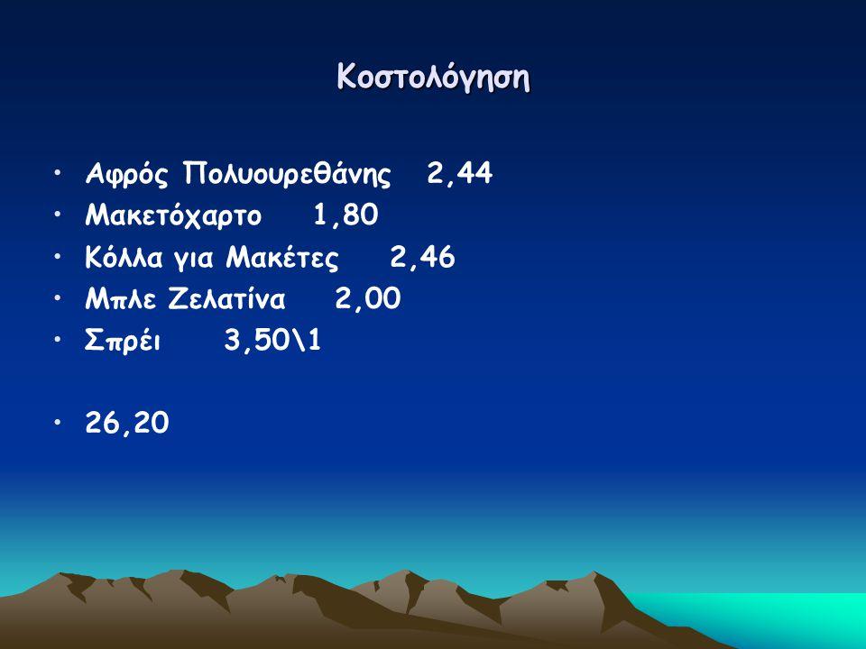 Κοστολόγηση Αφρός Πολυουρεθάνης 2,44 Μακετόχαρτο 1,80 Κόλλα για Μακέτες 2,46 Μπλε Ζελατίνα 2,00 Σπρέι 3,50\1 26,20