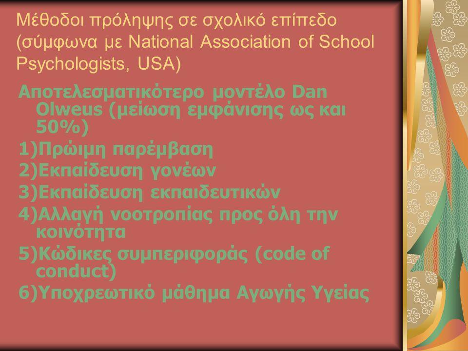 Μέθοδοι πρόληψης σε σχολικό επίπεδο (σύμφωνα με National Association of School Psychologists, USA) Αποτελεσματικότερο μοντέλο Dan Olweus (μείωση εμφάν