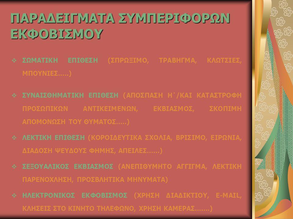 ΠΑΡΑΔΕΙΓΜΑΤΑ ΣΥΜΠΕΡΙΦΟΡΩΝ ΕΚΦΟΒΙΣΜΟΥ  ΣΩΜΑΤΙΚΗ ΕΠΙΘΕΣΗ (ΣΠΡΩΞΙΜΟ, ΤΡΑΒΗΓΜΑ, ΚΛΩΤΣΙΕΣ, ΜΠΟΥΝΙΕΣ…..)  ΣΥΝΑΙΣΘΗΜΑΤΙΚΗ ΕΠΙΘΕΣΗ (ΑΠΟΣΠΑΣΗ Η΄/ΚΑΙ ΚΑΤΑΣΤΡΟΦΗ ΠΡΟΣΩΠΙΚΩΝ ΑΝΤΙΚΕΙΜΕΝΩΝ, ΕΚΒΙΑΣΜΟΣ, ΣΚΟΠΙΜΗ ΑΠΟΜΟΝΩΣΗ ΤΟΥ ΘΥΜΑΤΟΣ…..)  ΛΕΚΤΙΚΗ ΕΠΙΘΕΣΗ (ΚΟΡΟΙΔΕΥΤΙΚΑ ΣΧΟΛΙΑ, ΒΡΙΣΙΜΟ, ΕΙΡΩΝΙΑ, ΔΙΑΔΟΣΗ ΨΕΥΔΟΥΣ ΦΗΜΗΣ, ΑΠΕΙΛΕΣ……)  ΣΕΞΟΥΑΛΙΚΟΣ ΕΚΒΙΑΣΜΟΣ (ΑΝΕΠΙΘΥΜΗΤΟ ΑΓΓΙΓΜΑ, ΛΕΚΤΙΚΗ ΠΑΡΕΝΟΧΛΗΣΗ, ΠΡΟΣΒΛΗΤΙΚΑ ΜΗΝΥΜΑΤΑ)  ΗΛΕΚΤΡΟΝΙΚΟΣ ΕΚΦΟΒΙΣΜΟΣ (ΧΡΗΣΗ ΔΙΑΔΙΚΤΙΟΥ, E-MAIL, ΚΛΗΣΕΙΣ ΣΤΟ ΚΙΝΗΤΟ ΤΗΛΕΦΩΝΟ, ΧΡΗΣΗ ΚΑΜΕΡΑΣ…….)