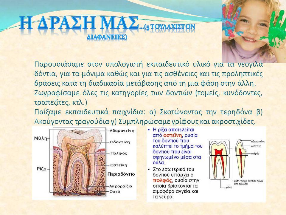 Παρουσιάσαμε στον υπολογιστή εκπαιδευτικό υλικό για τα νεογιλά δόντια, για τα μόνιμα καθώς και για τις ασθένειες και τις προληπτικές δράσεις κατά τη δ