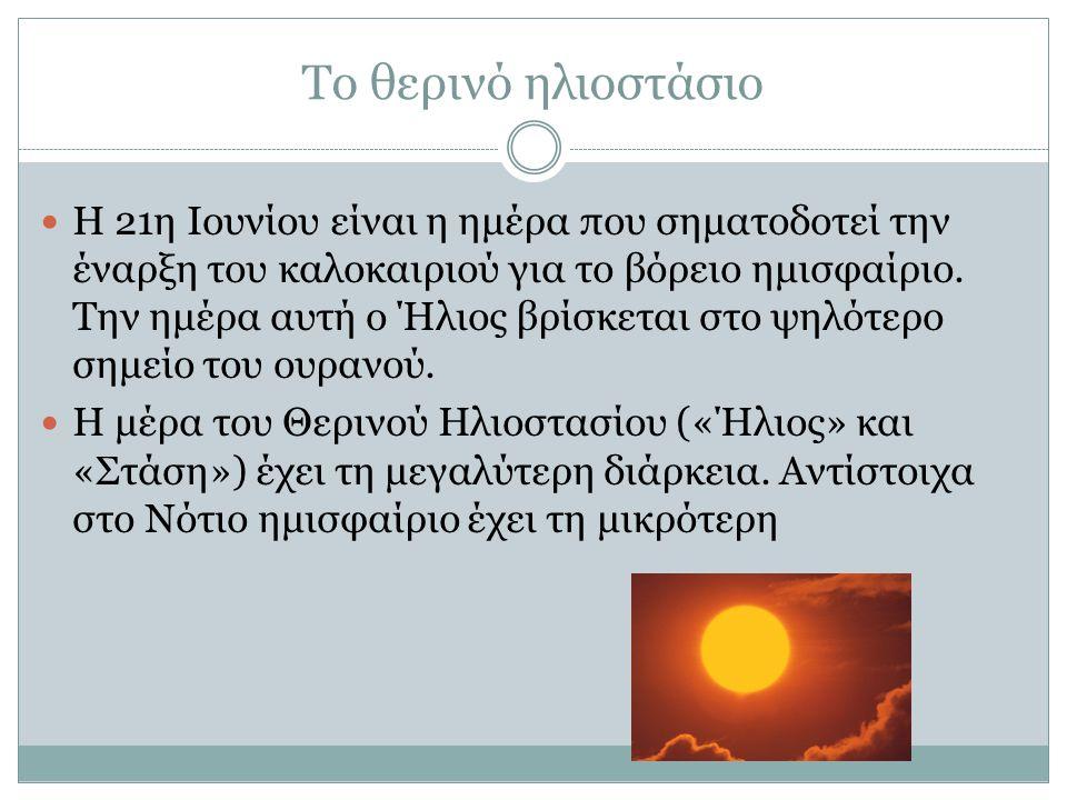 Το θερινό ηλιοστάσιο Η 21η Ιουνίου είναι η ημέρα που σηματοδοτεί την έναρξη του καλοκαιριού για το βόρειο ημισφαίριο.