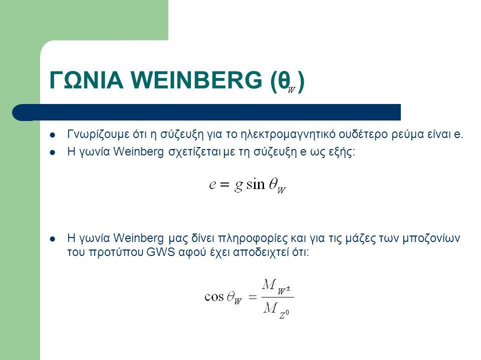 ΓΩΝΙΑ WEINBERG (θ ) Γνωρίζουμε ότι η σύζευξη για το ηλεκτρομαγνητικό ουδέτερο ρεύμα είναι e. Η γωνία Weinberg σχετίζεται με τη σύζευξη e ως εξής: H γω