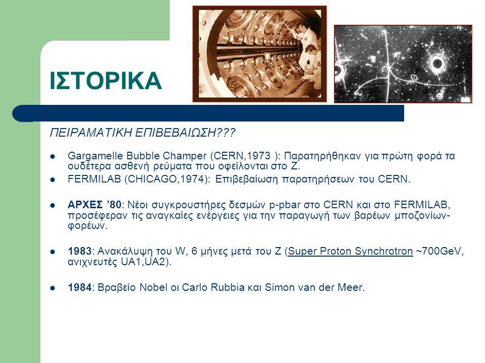 ΙΣΤΟΡΙΚΑ ΠΕΙΡΑΜΑΤΙΚΗ ΕΠΙΒΕΒΑΙΩΣΗ??? Gargamelle Bubble Champer (CERN,1973 ): Παρατηρήθηκαν για πρώτη φορά τα ουδέτερα ασθενή ρεύματα που οφείλονται στο