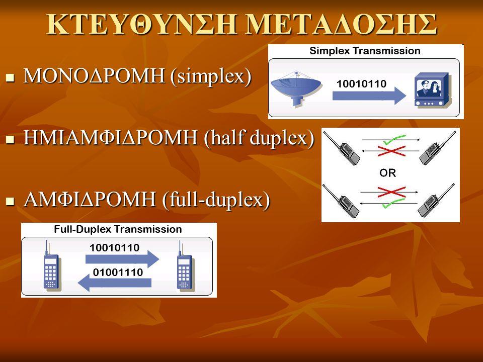 ΚΤΕΥΘΥΝΣΗ ΜΕΤΑΔΟΣΗΣ ΜΟΝΟΔΡΟΜΗ (simplex) ΜΟΝΟΔΡΟΜΗ (simplex) ΗΜΙΑΜΦΙΔΡΟΜΗ (half duplex) ΗΜΙΑΜΦΙΔΡΟΜΗ (half duplex) ΑΜΦΙΔΡΟΜΗ (full-duplex) ΑΜΦΙΔΡΟΜΗ (f