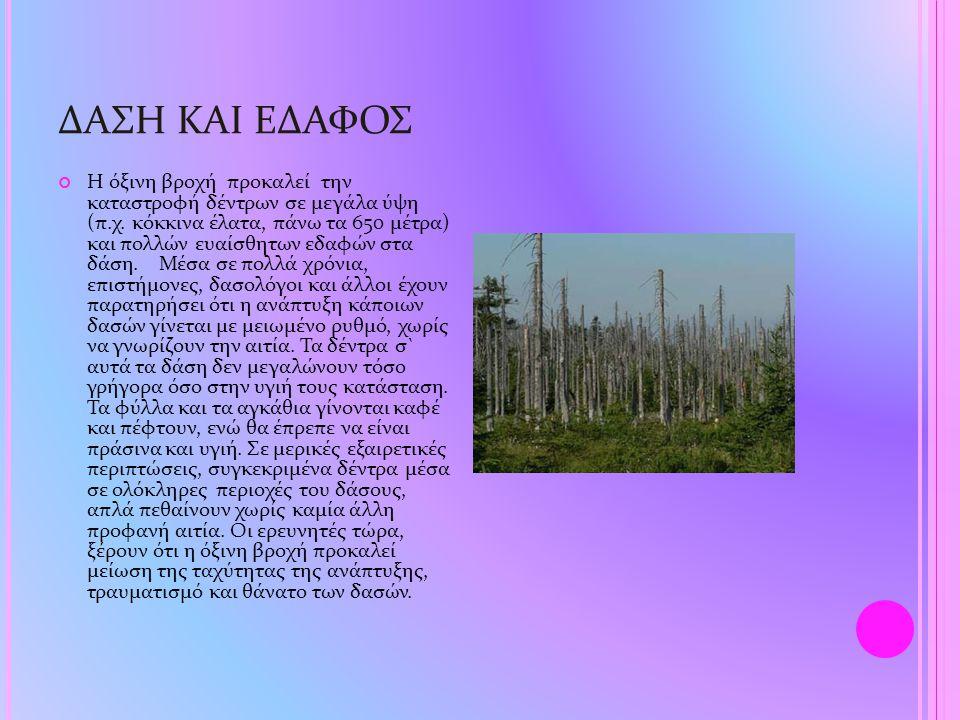 ΔΑΣΗ ΚΑΙ ΕΔΑΦΟΣ Η όξινη βροχή προκαλεί την καταστροφή δέντρων σε μεγάλα ύψη (π.χ. κόκκινα έλατα, πάνω τα 650 μέτρα) και πολλών ευαίσθητων εδαφών στα δ