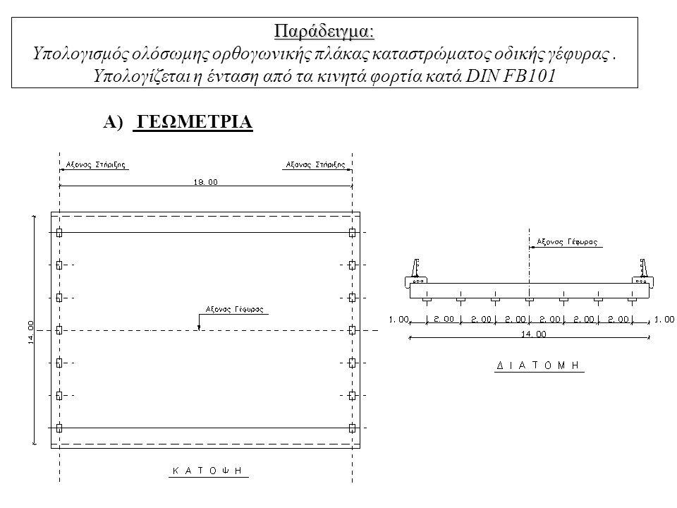 Παράδειγμα: Παράδειγμα: Υπολογισμός ολόσωμης ορθογωνικής πλάκας καταστρώματος οδικής γέφυρας. Υπολογίζεται η ένταση από τα κινητά φορτία κατά DIN FB10