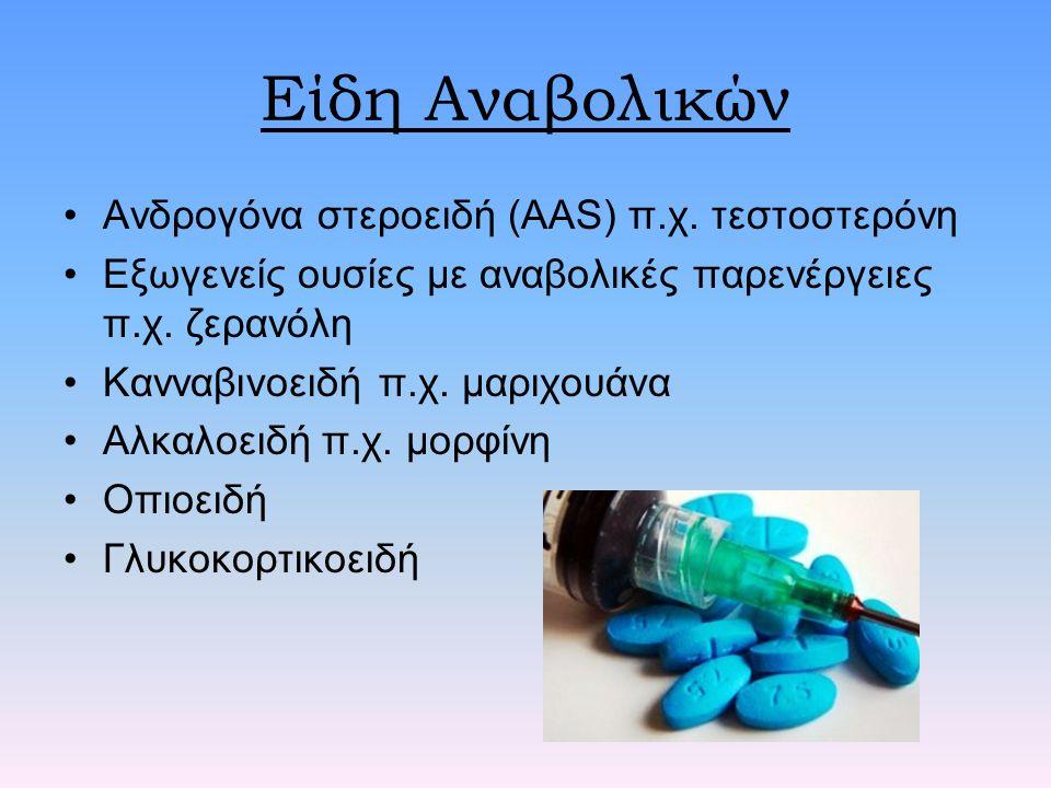 Είδη Αναβολικών Ανδρογόνα στεροειδή (ΑAS) π.χ. τεστοστερόνη Εξωγενείς ουσίες με αναβολικές παρενέργειες π.χ. ζερανόλη Κανναβινοειδή π.χ. μαριχουάνα Αλ