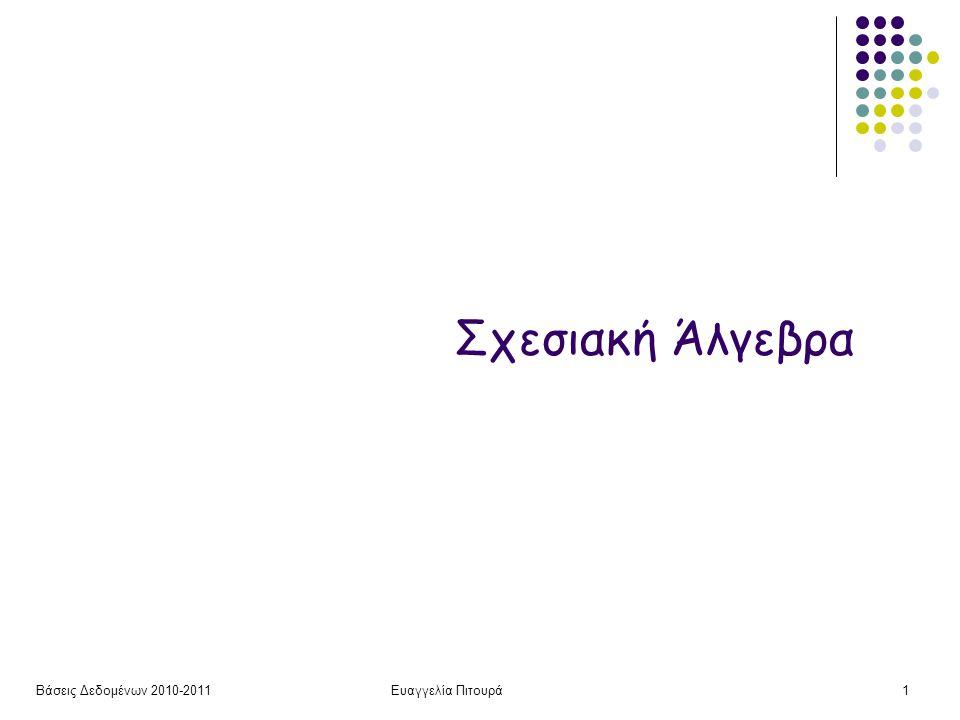 Βάσεις Δεδομένων 2010-2011Ευαγγελία Πιτουρά42 Για κάθε ηθοποιό το όνομα και τον τίτλο-έτος για όλες τις έγχρωμες ταινίες στις οποίες παίζει Παράδειγμα π όνομα, τίτλος, έτος (σ Παίζει.τίτλος = Ταινία.τίτλος AND Παίζει.έτος =Ταινία.έτος (Παίζει x (σ είδος = έγχρωμη (Ταινία))) π όνομα, τίτλος, έτος (Παίζει Παίζει.τίτλος = Ταινία.τίτλος AND Παίζει.έτος =Ταινία.έτος (σ είδος = έγχρωμη (Ταινία)) Παράδειγμα (ταινίες)