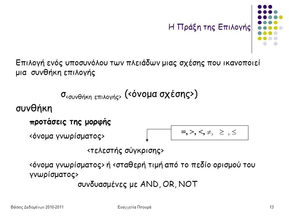 Βάσεις Δεδομένων 2010-2011Ευαγγελία Πιτουρά13 Η Πράξη της Επιλογής σ ( ) Επιλογή ενός υποσυνόλου των πλειάδων μιας σχέσης που ικανοποιεί μια συνθήκη επιλογής =, >, <, , ,  συνδυασμένες με AND, OR, NOT ή προτάσεις της μορφής συνθήκη