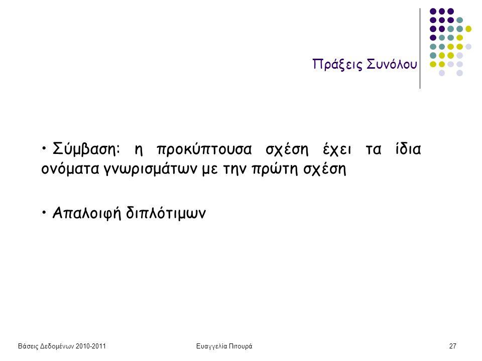 Βάσεις Δεδομένων 2010-2011Ευαγγελία Πιτουρά27 Πράξεις Συνόλου Σύμβαση: η προκύπτουσα σχέση έχει τα ίδια ονόματα γνωρισμάτων με την πρώτη σχέση Απαλοιφ