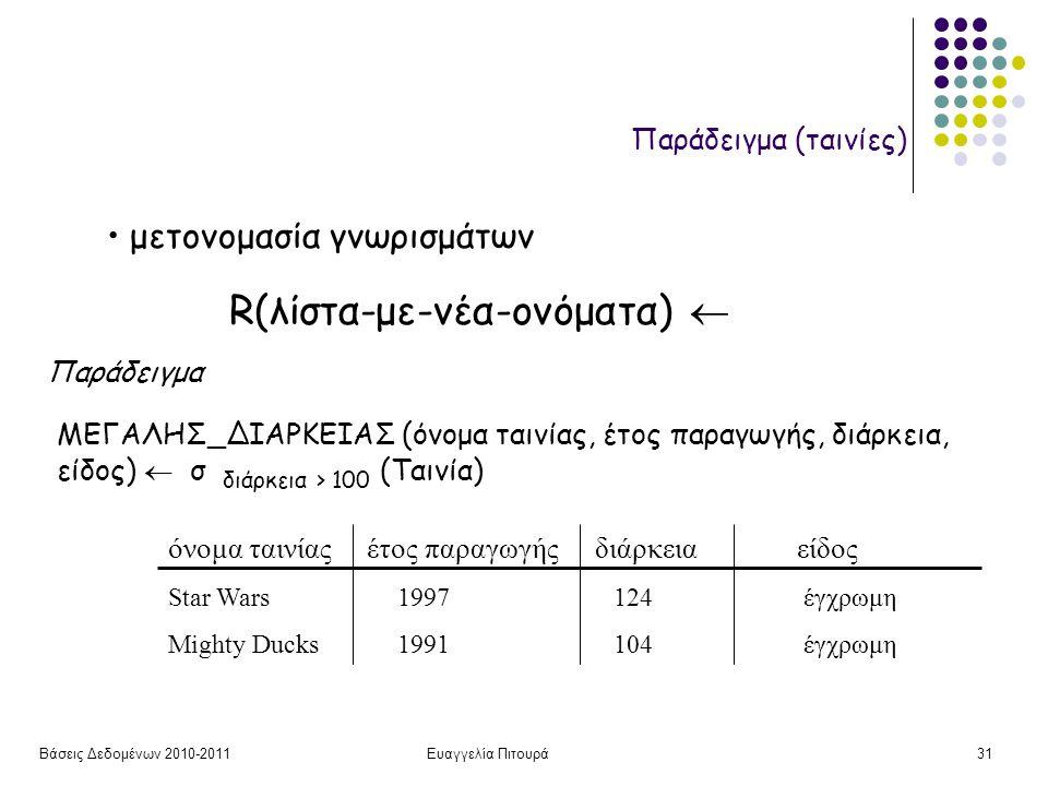 Βάσεις Δεδομένων 2010-2011Ευαγγελία Πιτουρά31 R(λίστα-με-νέα-ονόματα)  μετονομασία γνωρισμάτων ΜΕΓΑΛΗΣ_ΔΙΑΡΚΕΙΑΣ (όνομα ταινίας, έτος παραγωγής, διάρ