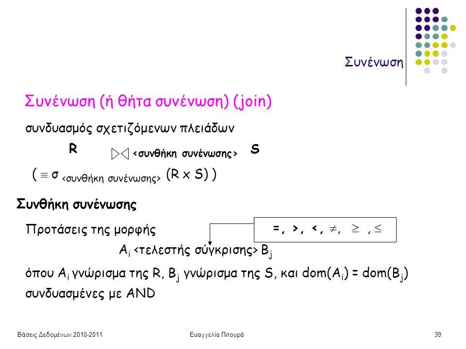 Βάσεις Δεδομένων 2010-2011Ευαγγελία Πιτουρά39 Συνένωση Συνένωση (ή θήτα συνένωση) (join) συνδυασμός σχετιζόμενων πλειάδων R S (  σ (R x S) ) =, >, <, , ,  Συνθήκη συνένωσης A i B j όπου A i γνώρισμα της R, B j γνώρισμα της S, και dom(A i ) = dom(B j ) Προτάσεις της μορφής συνδυασμένες με AND
