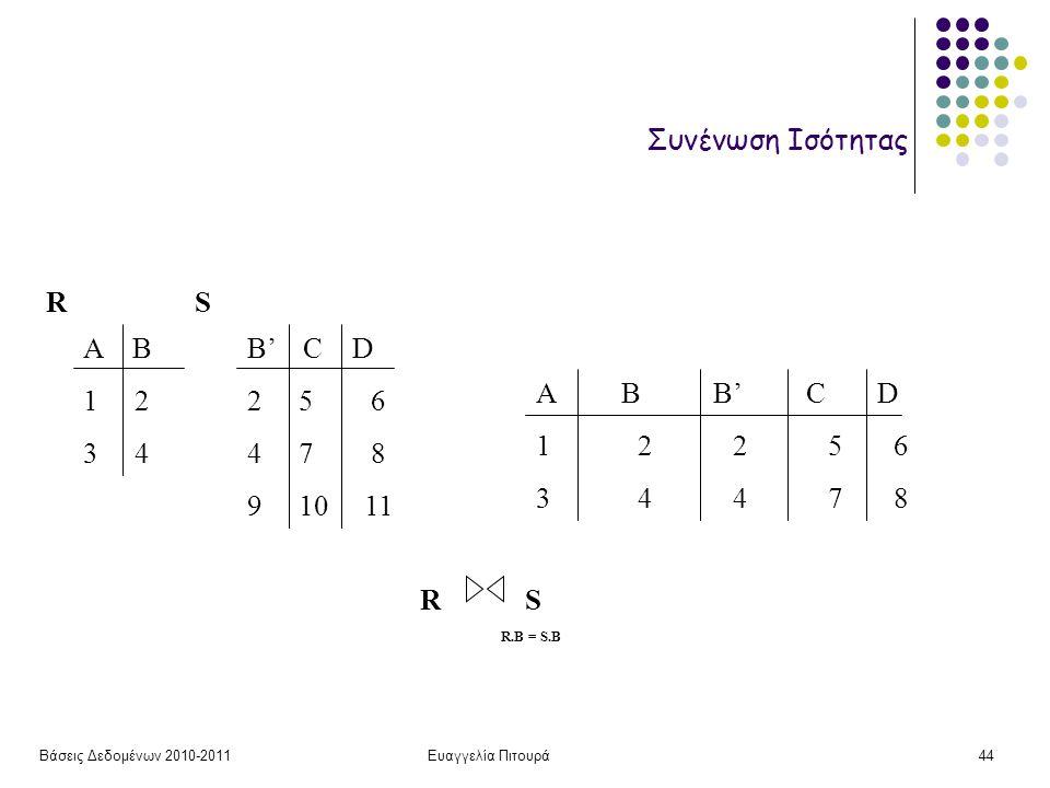 Βάσεις Δεδομένων 2010-2011Ευαγγελία Πιτουρά44 Συνένωση Ισότητας Α Β 1 2 3 4 B' C D 2 5 6 4 7 8 9 10 11 RS A B B' C D 1 2 2 5 6 3 4 4 7 8 RSRS R.B = S.B