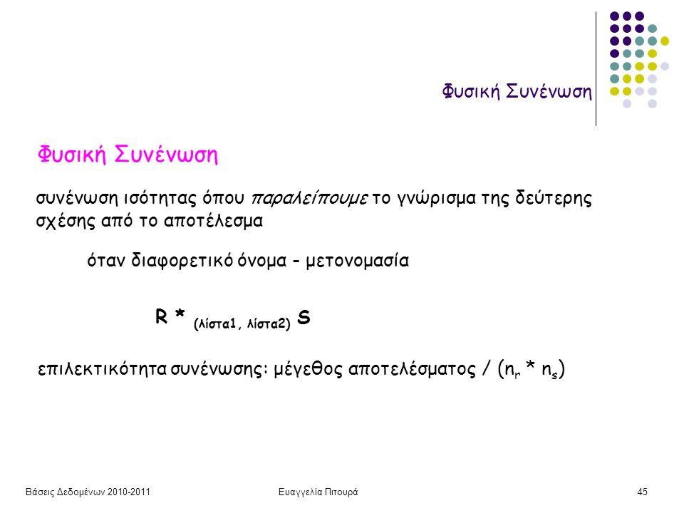 Βάσεις Δεδομένων 2010-2011Ευαγγελία Πιτουρά45 Φυσική Συνένωση συνένωση ισότητας όπου παραλείπουμε το γνώρισμα της δεύτερης σχέσης από το αποτέλεσμα όταν διαφορετικό όνομα - μετονομασία R * (λίστα1, λίστα2) S επιλεκτικότητα συνένωσης: μέγεθος αποτελέσματος / (n r * n s )