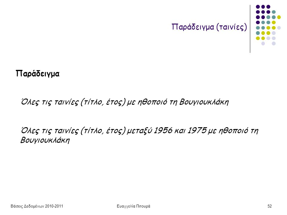 Βάσεις Δεδομένων 2010-2011Ευαγγελία Πιτουρά52 Όλες τις ταινίες (τίτλο, έτος) με ηθοποιό τη Βουγιουκλάκη Όλες τις ταινίες (τίτλο, έτος) μεταξύ 1956 και 1975 με ηθοποιό τη Βουγιουκλάκη Παράδειγμα Παράδειγμα (ταινίες)