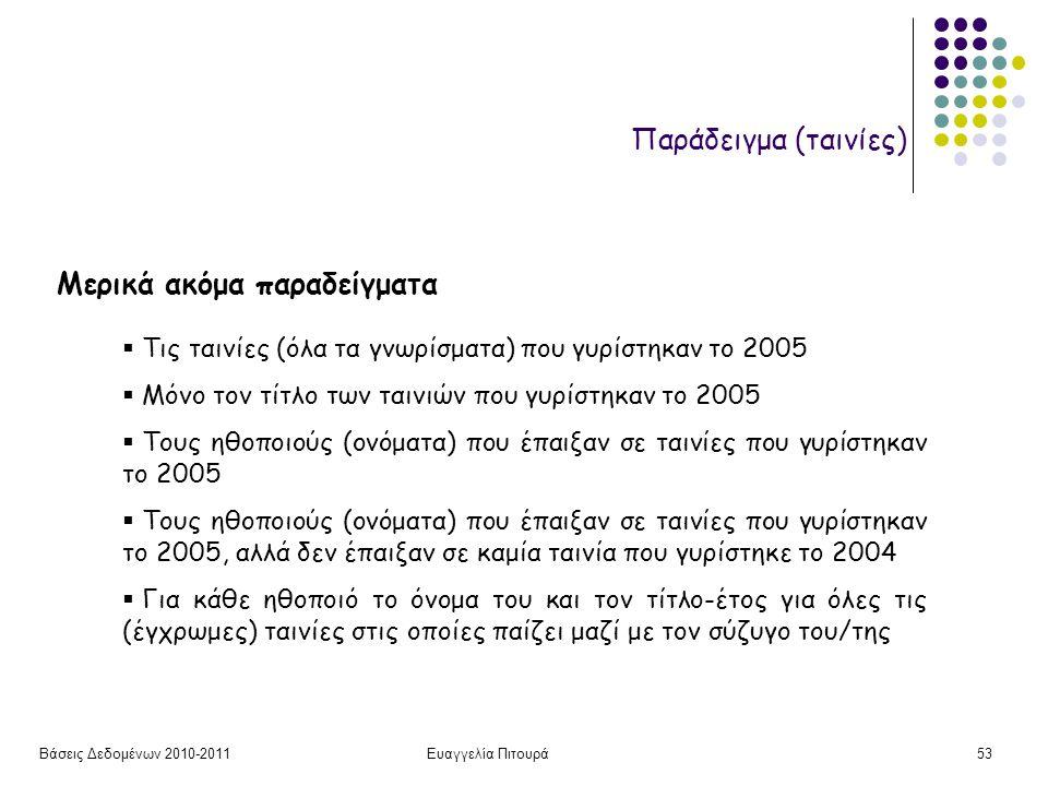 Βάσεις Δεδομένων 2010-2011Ευαγγελία Πιτουρά53 Παράδειγμα (ταινίες) Μερικά ακόμα παραδείγματα  Τις ταινίες (όλα τα γνωρίσματα) που γυρίστηκαν το 2005  Μόνο τον τίτλο των ταινιών που γυρίστηκαν το 2005  Τους ηθοποιούς (ονόματα) που έπαιξαν σε ταινίες που γυρίστηκαν το 2005  Τους ηθοποιούς (ονόματα) που έπαιξαν σε ταινίες που γυρίστηκαν το 2005, αλλά δεν έπαιξαν σε καμία ταινία που γυρίστηκε το 2004  Για κάθε ηθοποιό το όνομα του και τον τίτλο-έτος για όλες τις (έγχρωμες) ταινίες στις οποίες παίζει μαζί με τον σύζυγο του/της