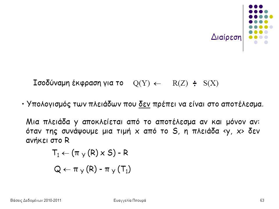 Βάσεις Δεδομένων 2010-2011Ευαγγελία Πιτουρά63 Διαίρεση Iσοδύναμη έκφραση για το Υπολογισμός των πλειάδων που δεν πρέπει να είναι στο αποτέλεσμα. Q(Υ)
