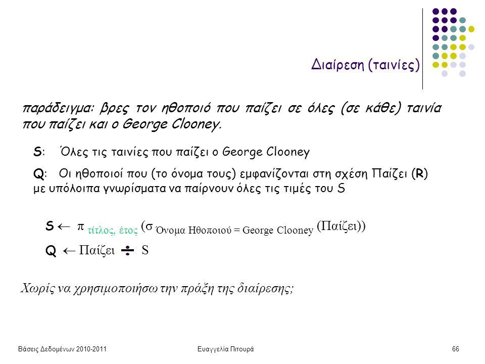 Βάσεις Δεδομένων 2010-2011Ευαγγελία Πιτουρά66 Διαίρεση (ταινίες) S  π τίτλος, έτος (σ Όνομα Ηθοποιού = George Clooney (Παίζει)) Q  Παίζει S Χωρίς να χρησιμοποιήσω την πράξη της διαίρεσης; παράδειγμα: βρες τον ηθοποιό που παίζει σε όλες (σε κάθε) ταινία που παίζει και ο George Clooney.