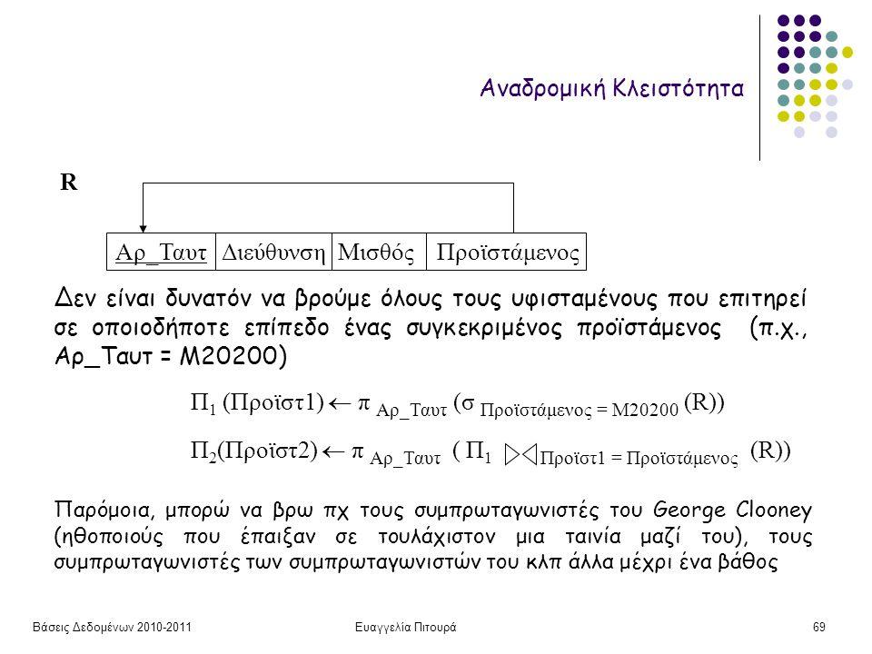 Βάσεις Δεδομένων 2010-2011Ευαγγελία Πιτουρά69 Αναδρομική Κλειστότητα Αρ_Ταυτ Διεύθυνση Μισθός Προϊστάμενος Δεν είναι δυνατόν να βρούμε όλους τους υφισταμένους που επιτηρεί σε οποιοδήποτε επίπεδο ένας συγκεκριμένος προϊστάμενος (π.χ., Αρ_Ταυτ = Μ20200) R Π 1 (Προϊστ1)  π Αρ_Ταυτ (σ Προϊστάμενος = Μ20200 (R)) Π 2 (Προϊστ2)  π Αρ_Ταυτ ( Π 1 Προϊστ1 = Προϊστάμενος (R)) Παρόμοια, μπορώ να βρω πχ τους συμπρωταγωνιστές του George Clooney (ηθοποιούς που έπαιξαν σε τουλάχιστον μια ταινία μαζί του), τους συμπρωταγωνιστές των συμπρωταγωνιστών του κλπ άλλα μέχρι ένα βάθος