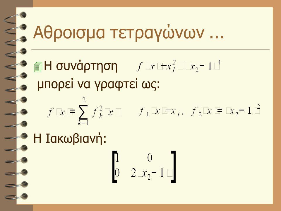 Αθροισμα τετραγώνων...  Η συνάρτηση μπορεί να γραφτεί ως: Η Ιακωβιανή: