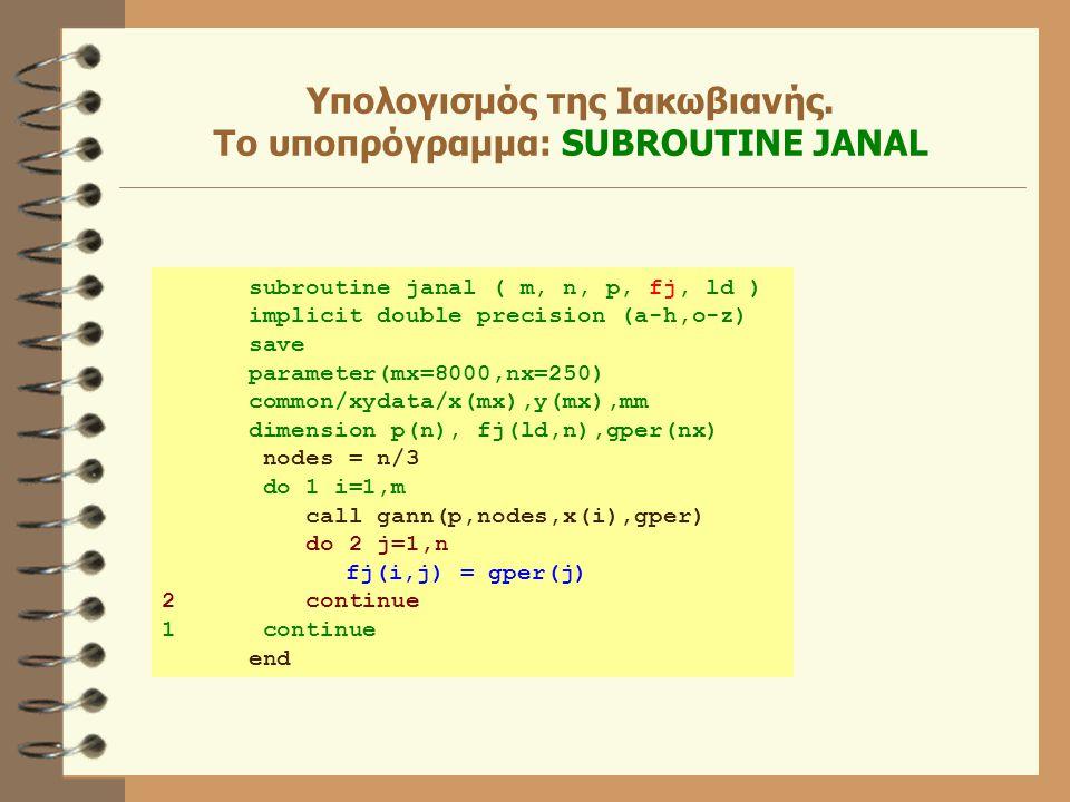 Υπολογισμός της Ιακωβιανής. Το υποπρόγραμμα: SUBROUTINE JANAL subroutine janal ( m, n, p, fj, ld ) implicit double precision (a-h,o-z) save parameter(