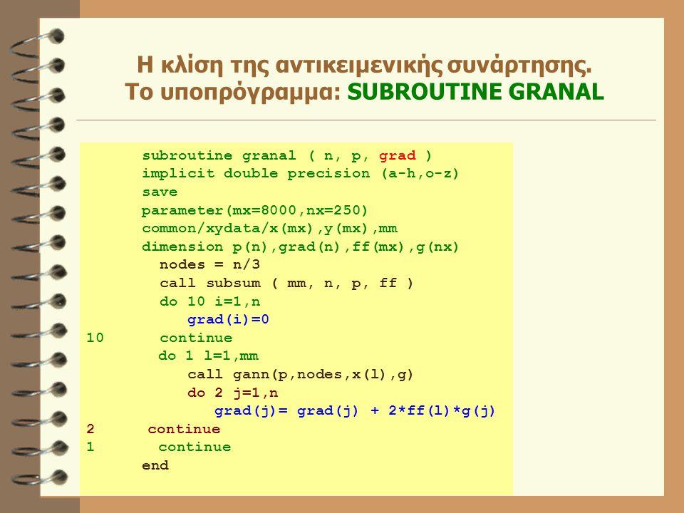 Η κλίση της αντικειμενικής συνάρτησης. Το υποπρόγραμμα: SUBROUTINE GRANAL subroutine granal ( n, p, grad ) implicit double precision (a-h,o-z) save pa