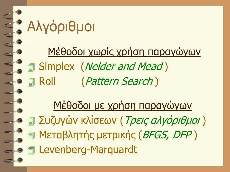 Αλγόριθμοι Μέθοδοι χωρίς χρήση παραγώγων  Simplex (Nelder and Mead )  Roll (Pattern Search ) Μέθοδοι με χρήση παραγώγων  Συζυγών κλίσεων (Τρεις αλγ