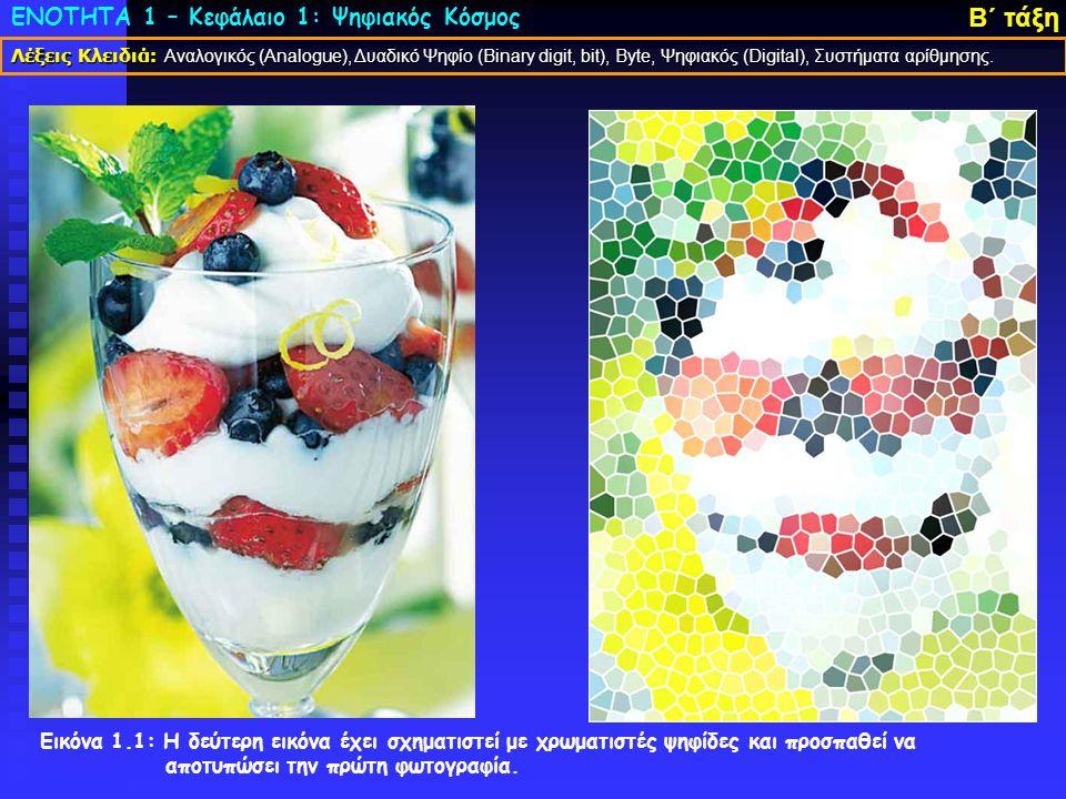 ΕΝΟΤΗΤΑ 1 – Κεφάλαιο 1: Ψηφιακός Κόσμος Β΄ τάξη Εικόνα 1.1: Η δεύτερη εικόνα έχει σχηματιστεί με χρωματιστές ψηφίδες και προσπαθεί να αποτυπώσει την πρώτη φωτογραφία.